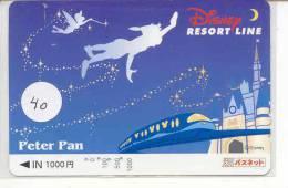 Carte Prépayée Japon (40) DISNEY PETER PAN * TRAIN TREIN RESORT LINE JAPAN PREPAID CARD * FILM MOVIE CINEMA KINO - Disney