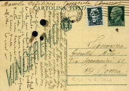INTERO R.S.I. REPUBBLICA SOCIALE IMPERALE 25 C VG 1944 COMO X ROMA VALORI GEMELLI - 4. 1944-45 Repubblica Sociale