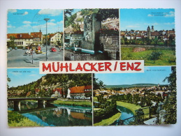Mühlacker - Enz: Rathaus Denkmal Kirche Enz Totalansicht Fünfbildkarte 1973 Used - Mühlacker