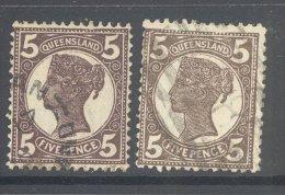 QUEENSLAND, 1897 5d  Purple-brown, Black-brown (Crown Over Q) VFU, Cat £8 - 1860-1909 Queensland