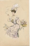 Dessin Tres Jolie Femme Fumant La Cigarette - Ante 1900