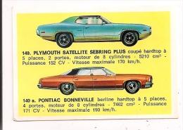 "Plymouth Satellite Sebring Plus - Pontiac Bonneville - Image "" Americana Munich ""  N° 140 / 140 A -  5,2 X 7,5 Cm - - Turismo"
