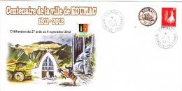 Nouvelle Caledonie Enveloppe Commemorative  TIMBRE PERSONNALISE PRIVE KOUMAC CENTENAIRE EGLISE CHEVAL OISEAU 28/8/12 TB - Nouvelle-Calédonie