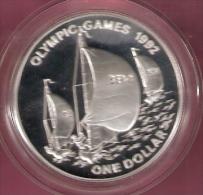 BERMUDA 1 DOLLAR OLYMPIC GAMES 1992 SILVER PROOF SAILING - Bermudes