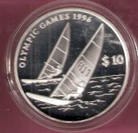FIJI 10 DOLLAR 1995 OLYMPIC GAMES 1996 SILVER PROOF SAILING - Fidji