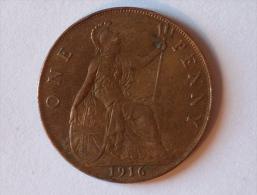 Grande-Bretagne 1 Penny 1916 - 1902-1971 : Monnaies Post-Victoriennes