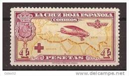 ES348-L875TESSC.España.Spain   Espagne. 1ª  CRUZ ROJA ESPAÑOLA  AEREA.1926 (Ed 348*).levisima Charnela.EXCELENTE - Escudos De Armas