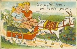 """CP A Systhème ( Vide Malheureusement  ) De LUZ-SAINT-SAUVEUR """" Au Petit Trot En Route Pour  ... """" - Luz Saint Sauveur"""