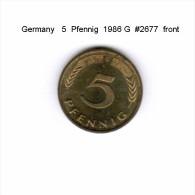GERMANY   5  PFENNIG  1986 G   (KM # 107) - 5 Pfennig