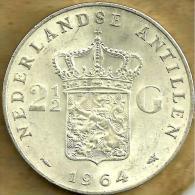 NETHERLANDS ANTILLES 2&1/2 GULDEN SHIELD FRONT WOMAN HEAD BACK 1964 AG SILVER VF KM3 READ DESCRIPTION CAREFULLY !!! - [ 4] Colonias