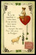 COCHON - ART NOUVEAU - Carte Gaufrée De 1906 - Embossed Poscard - Pigs