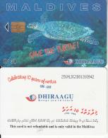 MALDIVES ISL. - Turtle, CN : 256MLDGIB, Chip GPT2, Used - Maldiven