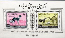 Tag Der Landwirtschaft 1961 Afghanistan Block 8 ** 10€ Windhund Pferd Schaf  Dromedar Bloc Fauna Sheet Bf Afghanes - Afghanistan