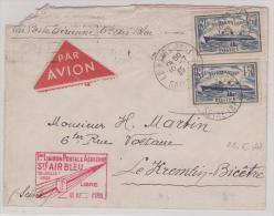 Enveloppe  Avec  Oblitération Le Havre Port + 1ère Liaison Postale Aérienne Sté Air Bleu 20 Juillet 1936 - Marcophilie (Lettres)