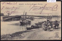Cochinchine : Saïgon - Le Pont Des Messageries Maritimes - Bateaux Char à Bœufs - Charrette De Foin Ca 1910 (12´777) - Viêt-Nam