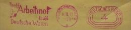 """Cover, Freistempel, AFS, Meter, 1933, Zusatz: """"Brecht Arbeitsnot - Kauft Deutsche Waren"""", Weiden > Nürnberg - Deutschland"""