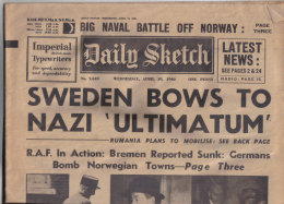 RARE ORIGINAL  DAILY SKETCH  ORIGINAL FULL NEWS PAPER WEDNESDAY 10 APRIL 1940 - History
