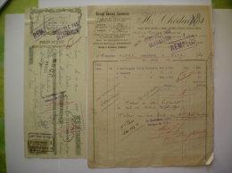 LAON H.CHEDAILLE GRAND GARAGE LAONNOIS 17 GRANDE RUE FACTURE ET TRAITE DU 10 AVRIL 1923 - Automobile