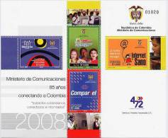 Lote 2489-92P, Colombia, 2008, Pliego, Sheet, Ministerio De Comunicaciones, 85 Años, Internet, Computer - Colombia