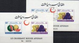 Roter Halbmond Imperf.1961 Afghanistan Block 16 B **/o 9€ Früchte Melone Weintraube Bloc Ms Fruit Sheet Bf Afghanes - Afghanistan