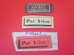 3 étiquette Postal Vignettes Avec Ou Sans Gomme Au Verso Document Des Postes De La Poste Par Avion By Air Mail Flugpost - Documenti Della Posta