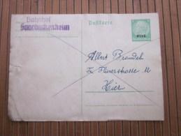 SAARBUCKEHEIM 1940 Entier Postaux Deutsche Reichspost Postkarte Allemagne Alsace-Lorraine > KIER 1 Paquet Stoff 8 Kg - Briefe U. Dokumente