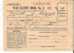 Booklet United States War Ration Book No. 3, Everett Babcock, West Hartford Connecticut  Partly Used - Histoire