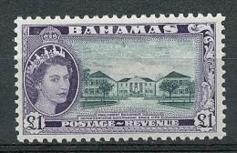 BAHAMAS 1953 QUEEN ELIZABETH 1.00£ PARLIAMENT SC# 173 VF OG MLH (NODEL0188) - Bahamas (...-1973)