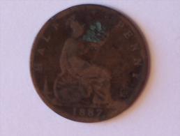 Grande-Bretagne 1/2 Half Penny 1887 - 1816-1901 : Frappes XIX° S.