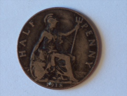 Grande-Bretagne 1/2 Half Penny 1918 - 1902-1971 : Monnaies Post-Victoriennes