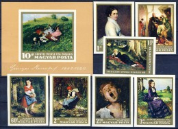 ##H307. Hungary 1966. National Gallery. Paintings. Michel 2291-97B, Block 56B. MNH(**). Gum Faults!! - Hungary