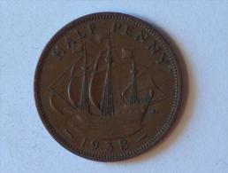 Grande-Bretagne 1/2 Half Penny 1938 - 1902-1971 : Monnaies Post-Victoriennes