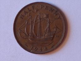 Grande-Bretagne 1/2 Half Penny 1944 - 1902-1971 : Monnaies Post-Victoriennes