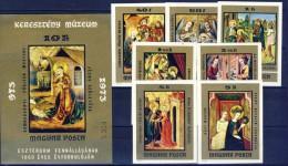 #H319. Hungary 1973. Religious  Paintings. Michel 2907-13B + Block 102B. MNH(**). - Hongrie