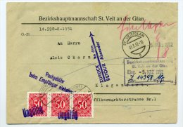 PORTO ANK/Mi. 241 (3 Stück) Brief ST.VEIT-KLAGENFURT U. Zrk. - Portomarken