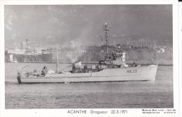 Batiment Militaire Acanthe  Marine Nationale Dragueur 22-3-1971 Avec Equipage  Marius Bar - Guerre