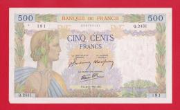 """BILLET DE 500 FRANCS  """" LA PAIX """"  DU  6-2-1941  Q.2431 - 500 F 1940-1944 ''La Paix''"""