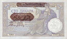 SERBIA,100 DINARA 1941,Ro.601,P.27,UNC,GERM ANY OCCUPATION,WM KING ALEXANDER,SEE SCAN - Serbien