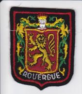 ECUSSON TISSU BRODE ROUERGUE LION BLASON ARMES HERADIQUE NOIR - Blazoenen (textiel)