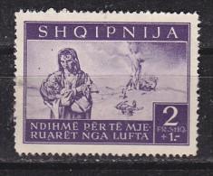 ALBANIE - N°Y&T - 317 - 2f + 1 F  Violet   - Réfugiés  - (N) - Albanie