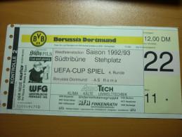 Borussia Dortmund-AS Roma UEFA Cup Football Match Ticket Stub Season 1992/1993 - Match Tickets