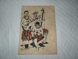 TAHITI Carte En Tapa( Faite à Main), ORCHESTRE (avec Contrebasse Polynésienne ) Certificat Au Dos Sur Papier Classique - Tonga
