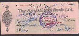 CHEQUE - THE AUSTRALASIA BANK LTD. PAKISTAN Karachi 17.3.1964 - Bank & Insurance