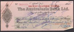 CHEQUE - THE AUSTRALASIA BANK LTD. PAKISTAN Karachi City 12.3.1964 - Bank & Insurance