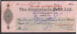 CHEQUE - THE AUSTRALASIA BANK LTD. PAKISTAN Karachi City 14.3.1964 - Bank & Insurance