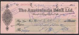 CHEQUE - THE AUSTRALASIA BANK LTD. PAKISTAN Napier Road Karachi 28.3.1964 - Bank & Insurance