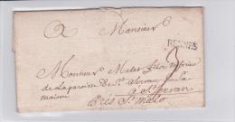 1743 - ILLE ET VILAINE - LETTRE De RENNES Pour ST MALO - Marcophilie (Lettres)