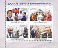 gb9205a Guinea Bissau 2009 Year of Reconciliation s/s Dalai Lama Flag Pope Paul II Kofi Annan Martt Ahtisaari