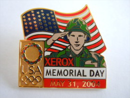 Pins Pin's Memorial Day May 31 2004 Xeros USA Sponsor Jeux Olympique. Olympische Spelen - Militair & Leger