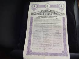"Titulo Cinco Acciones""Compania Mexicana De Petroleo""El Aguila""Mexico 1949 Petrole - Aardolie"